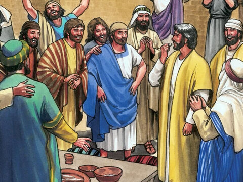 Although the doors were locked, Jesus stood among them and said, 'Peace be with you.' – Slajd 9